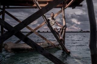 Petain Xavier Faralahi, 22, works as a guard in the sea-cucumber fields.