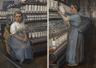 Left: Sylvia Pankhurst's In a Glasgow Cotton Mill: Minding a Pair of Fine Frames; right: In a Glasgow Cotton Spinning Mill: Changing the Bobbin