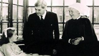 Aneurin Bevan on a hospital visit on the day the NHS was founded in July 1948