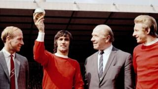 George Best shows off his 1968 European footballer of the year award in the company of Bobby Charlton, Matt Busby and Denis Law