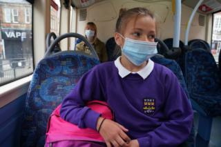 15/6/2020 of a school pupil wearing a face mask. Pupils wearing masks is an option that should be kept under review, a union has said, despite the Education Secretary insisting the measure is not needed as schools in England prepare to reopen.