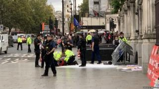 The scene outside Parliament following the arrest of a man on Tuesday