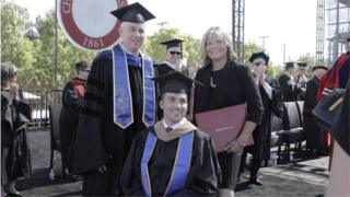 Judy O'Connor (R) with Marty at Saturday's graduation