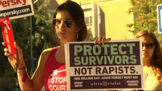 Demonstrators against what they see as a lenient sentence for rape handed down by California judge Aaron Persky against Stanford student, Brock Turner, 2018