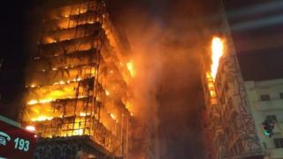 View of the building in Sao Paulo engulfed in flames