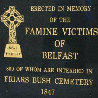 Famine plaque at Friar's Bush graveyard