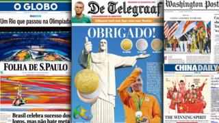 Newspaper front pages featuring Rio Olympics