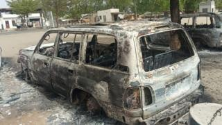 A burnt out Monguno, Nigeria - following the attack by militants on 13 June 202