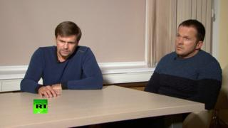Two Russian men claiming to be Alexander Petrov and Ruslan Boshirov give an interview to RT news channel
