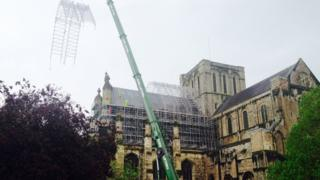 Scaffolding being removed from Winchester Cathedral