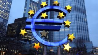 A big euro sign outside the ECB HQ
