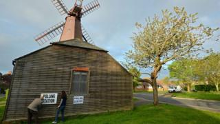 Polling station sign being fixed to a windmill