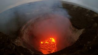 The summit lava lake reportedly dropped in levels after the eruption of Hawaii's Kilauea volcano on 6 May 2018 near Pahoa, Hawaii