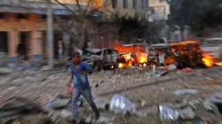 Scene of bomb attack on Ambassador Hotel in Mogadishu on 1 June 2016