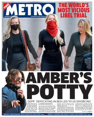 Metro newspaper front page