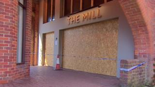 The Mill pub boarded up in Salisbury