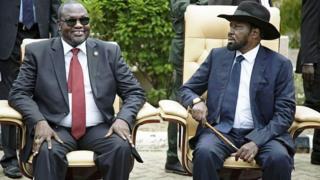 Aliyekuwa makamu wa rais wa Sudan Kusini Riek Machar na rais Salva Kiir