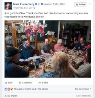 Mark Zuckerberg shared a picture from the dinner with his millions of Facebook followers