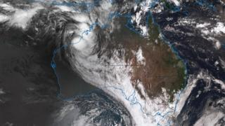 A satellite image of Cyclone Joyce as it nears Australia's north-west coast