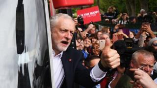 Jeremy Corbyn on a Labour election bus