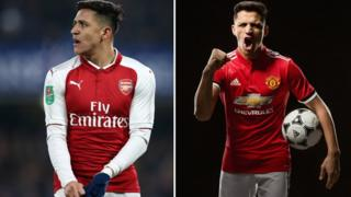 Composite image showing Alexis Sanchez in Arsenal kit, and in his new kit for Manchester United.