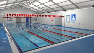 CGI of temporary swimming pool