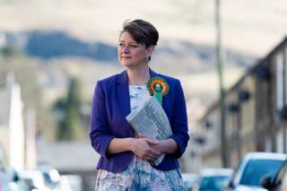 Leanne Wood campaigning in Rhondda