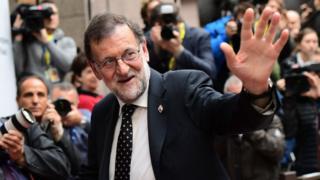 Le Premier ministre espagnol Mariano Rajoy à son arrive à Bruxelles, lors du sommet des chefs d'Etat et de gouvernement de l'UE, le 20 octobre 2016.