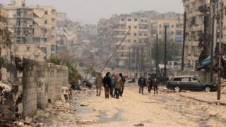 People walking in Syria