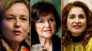 Three of the new ministers in the new Spanish government: L-R Nadia Calviño, Carmen Calvo and María Jesús Montero
