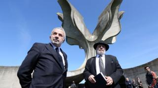 Coordinator of the Jewish communities in Croatia Ognjen Kraus (L) and Croatian rabbi of the Jewish community Luciano Mose Prelevic (R) in Jasenovac on April 15, 2016
