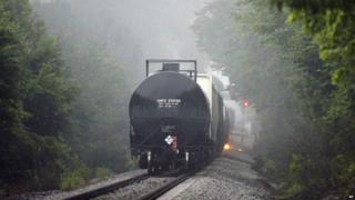 Flames are shown coming from a train carrying flammable and toxic gas in Maryville, Tennessee - 2 July 2015