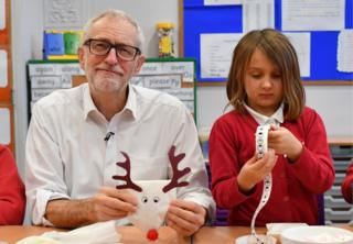 Jeremy Corbyn at an arts and crafts session at Sandylands Community Primary School in Morecambe.