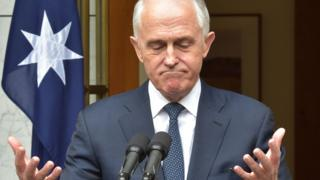 Malcolm Turnbull shrugs in his press conference in Canberra