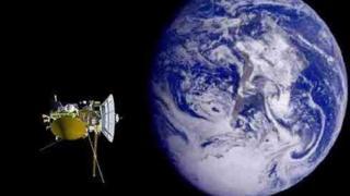 """""""Кассини"""" на фоне Земли, 1999 год"""