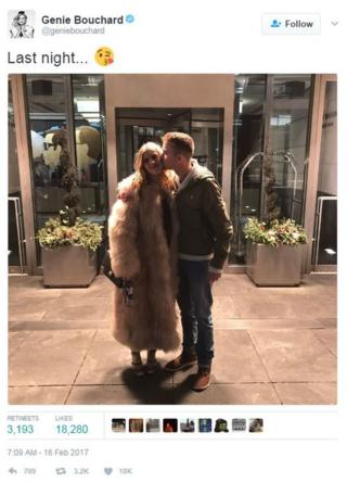 Genie Bouchard tweets a picture of her date kissing her cheek