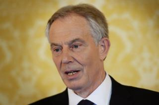 Tony Blair speaks at a press conference