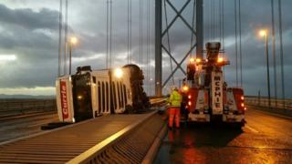 Lorry on Forth Road Bridge