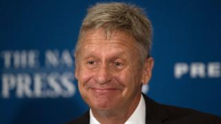 Libertarian Presidential candidate Gary Johnson smiling