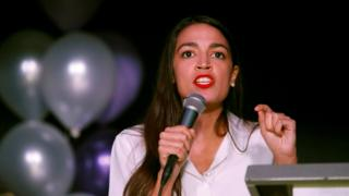 Alexandria Ocasio-Cortez speaks at her midterm election night party in New York City