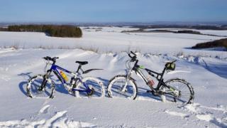 Mountain bikes in the snow
