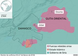 Mapa que muestra las áreas de control alrededor de Damasco y Guta Oriental