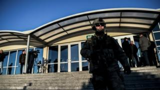 Turkish special force soldiers stand guard at the courthouse on 27 December at Silivri jail in Istanbul