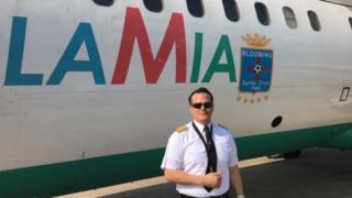 MIguel Quiroga e o avião da Lamia
