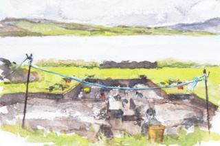 Karen Wallis watercolour of Ness of Brodgar dig site