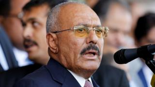 Yemen's former President Ali Abdullah Saleh speaking at a rally held to mark the 35th anniversary of the establishment of his General People's Congress party in Sanaa, 24 August 2017