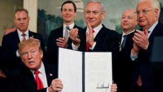 ဂိုလန်ကုန်းမြင့်ကို အသိအမှတ်ပြုတာအတွက် ထရမ့်ကို အစ္စရေးဝန်ကြီးချုပ်က ချီးကျူးလိုက်ပါတယ်။
