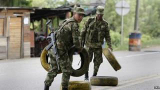 Colombian soldiers in Cauca, May 2015