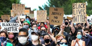 Black Lives Matter protest in the US - prompted by the death of George Floyd in Minneapolis on 25 May 2020