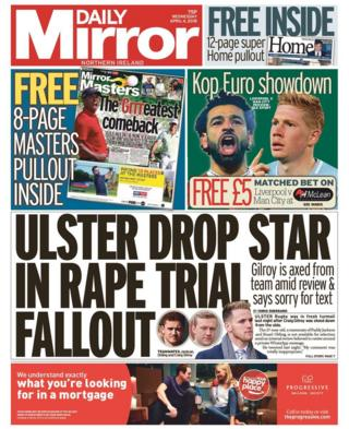 front page of the Daily Mirror Wednesday 4 April 2018